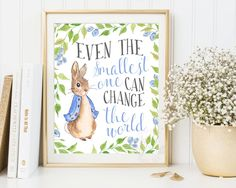 Peter Rabbit Nursery Prints, Baby Shower, Beatrix Potter, Nursery Wall Art, Nursery Decor, Peter Rabbit Print, Beatrix Potter Nursery quote by AdornMyWall on Etsy