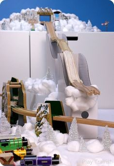 Wooden Train Ski Jump -- Winter Olympics Activities for Kids from Play Trains! #Trains