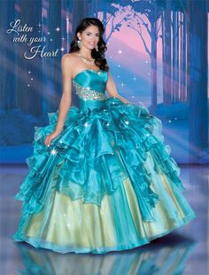 Now Sell ! Price: $799.00 Inspired by Pocahontas' courageous heart and love of nature, this gown celebrates the beauty of our world. Cascading ruffles and elegant pleating are adorned with dazzling beadwork. Style: 41047 Fabric: Shimmer Organza Color: Teal/Gold, Dark Fuchsia/Gold, Burnt Orange/Gold, White Sizes: 0-30 Storefront: 309 York B, South Houston, TX 77587 713-941-DIVA (3482)