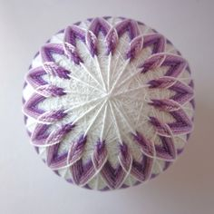 Custom Order for KT - decorative ball home decor - illusions of lavender - hand embroidered thread ball - japanese temari by julieandco on Etsy