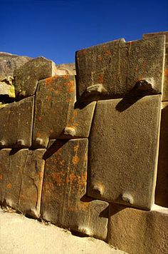 Incan stonework, Fortress of Ollantaytambo, Sacred Valley.  Photo: Mylene d'Auriol Stoessel.