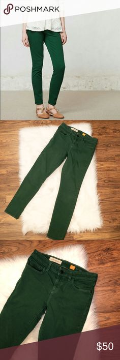 Pilcro & The Letterpress Green Skinny Jean Pilcro & The Letterpress for Anthropologie green stet cut jean. Size 27. Excellent used condition. Minor fading on edges. ✨ Feel free to ask any questions. No trades or outside transactions. Offers welcomed. Bundle to save more! Anthropologie Jeans Skinny