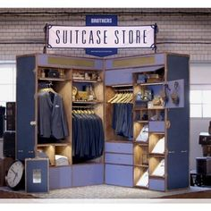Giant Luggage Pop-Up Shops : Brothers Suitcase Store Visual Merchandising, Swedish Clothing Brands, Pop Up Shops, Store Displays, Window Displays, Retail Space, Shop Plans, Booth Design, Signage Design