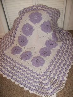 Crocheted Purple Rose Baby Blanket -