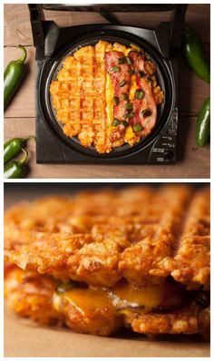 Like whoa. iron recipes dinner grilled cheeses A Bacon-Jalapeño Grilled Cheese, Made Of Waffles That Are Made Of Tater Tots Tater Tots, Tater Tot Waffle, Waffle Waffle, I Love Food, Good Food, Yummy Food, Waffle Maker Recipes, Foods With Iron, Stuffed Jalapenos With Bacon