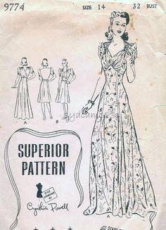 Vintage 1940s Dress Pattern Wrap V Back Evening Gown by sydcam123