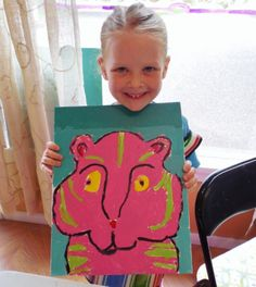 Totally cute, totally terrific pop art tigers using contrast colors.  Kid's Drawing & Painting class