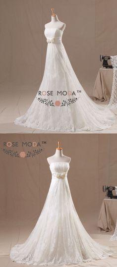 Lace Empire A Line Wedding Dress with Pearl Bow Slim Corset Destination Bridal  Gown Vestidos de Noiva Real Photos dbbefad34e0d