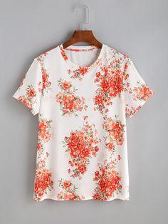 Camiseta de mangas cortas con estampado de flor-(Sheinside)