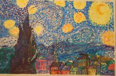 Homage to Van Gogh: acrylic and watercolour on paper painted by a group of children in Emma's Art Room Vincent Van Gogh, Crafts To Make, Watercolour, Paintings, Illustrations, Group, Patterns, Children, Paper
