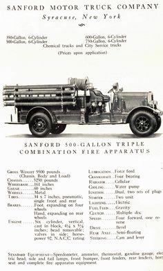 Sanford Motor Truck Company Fire Truck