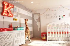 "Colorful Circus-Themed Nursery - love the striped accent wall and light up ""K"" #nursery"