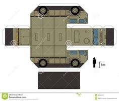 Free Download Paper Model Trucks | Paper model of a heavy military vehicle, not a real type, vector ...
