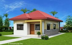 This 3 bedroom house design has a total floor area of 82 square meters. Minimum lot size required for this design is 167 square meters with 10 meters lot width to maintain meters setback both side. Modern Bungalow House Design, Small Bungalow, Simple House Design, House Front Design, Cool House Designs, Simple House Plans, My House Plans, Bungalow House Plans, House Floor Plans
