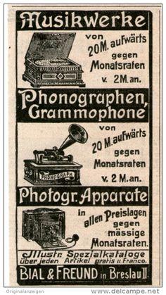 Original-Werbung/Inserat/ Anzeige 1902 : MUSIKWERKE / GRAMMOPHONE / BIAL & FREUND - ca. 45 x 85