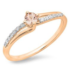 10K Rose Gold Round Cut Morganite  White Diamond Ladies Bridal Wave Promise Engagement Ring Size 6 ** Read more by visiting the link on the image.