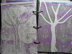 Trish's Artistic Adventures I made an art journal from box board, like cereal boxes. I gessoed the pages front and back and then I did gelli printing on them. For these two pages I brayered my paint onto the gelli plate, and then I put string down in a tree pattern.