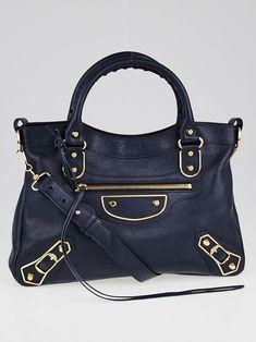 00da77b2d29 Balenciaga Bleu Obscur Grained Chevre Leather Metallic Edge Town Bag -  Yoogi's Closet Balenciaga City Bag