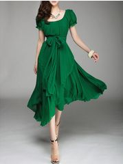 Chiffon Short Sleeve Slash Neck Womens Maxi Dress (Plus Size Available) Pretty Outfits, Pretty Dresses, Beautiful Outfits, Cute Outfits, Gorgeous Dress, Elegant Dresses, Fashionable Outfits, Pretty Clothes, Casual Outfits