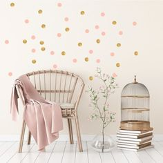 Pom Le Bon Homme Triangle wall transfers in Rose pink and gold Girl Room, Girls Bedroom, Baby Room, Room Wall Decor, Bedroom Decor, Gold Dot Wall, Gold Dots, Wall Stickers, Wall Decals