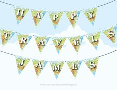 personalized happy travels map bunting large printable diy party decoration farewell party bon