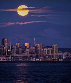 dusk-SF moon Seattle Skyline, New York Skyline, Dusk To Dawn, Northern California, Sunrise, Moon, Celestial, Travel, Outdoor