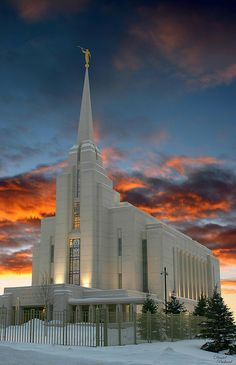'Rexburg Temple at Sunset' - photo by Dan Packard (packarddaniel), via Flickr;  Rexburg, Idaho Temple of The Church of Jesus Christ of Latter-day Saints