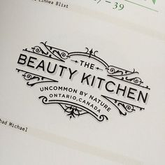 Typography  The Beauty Kitchen label concept by Chad Michael Studio  Line work Clean typogr