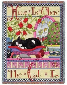 Home is Where the Cat is Tapestry Throw from Snugglebug Pillows and Throws on Points Northeast
