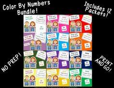 This product includes 12 Color By Number packets. There is a packet for every month. Each packet includes a cover page and 10 coloring pages. This product is great for: -early finishers -practicing number recognition -practicing color words -fine motor