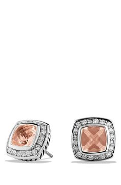 Pretty pink David Yurman earrings. So beautiful with lots of sparkle! Great size and look great on.