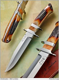 The late mastersmith Bob Loveless - pinless stag sub-hilt fighting knife.