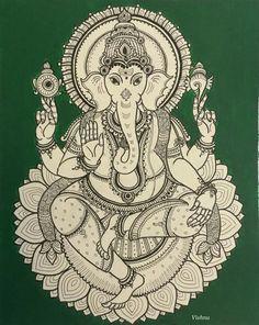 Ganesh artists that inspire ганеша, мандалы, графика Ganesha Drawing, Ganesha Painting, Ganesha Art, Lord Ganesha, Kalamkari Painting, Madhubani Painting, Kerala Mural Painting, Indian Art Paintings, Mandalas Drawing