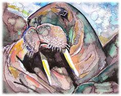 Walrus-- Artist Signed Watercolor Print