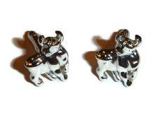 Bull Cuff Links Silver Steer Cufflinks MINT Brand New in Box Unused VanHeusen…