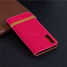 Retro Jeans Cowboy Denim Leather Wallet Case for Samsung Galaxy - Red from Guuds Samsung Galaxy Phones, Samsung Cases, Nokia C1, P8 Lite, Leather Material, Smooth Leather, Cell Phone Cases, Iphone 8 Plus, Galaxies