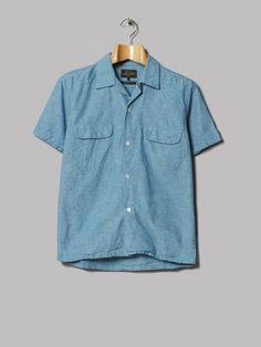 8821b7092e1 Beams Plus Open Cotton Hemp Shirt (Blue)