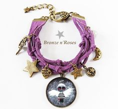 Bracelet cuir breloques