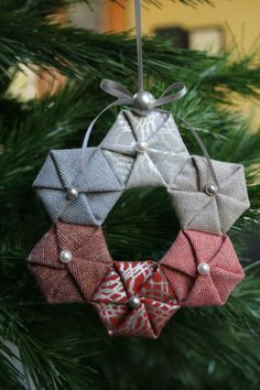 circle hexies in shimmer on and metallic essix linen fabric christmas ornaments christmas origami