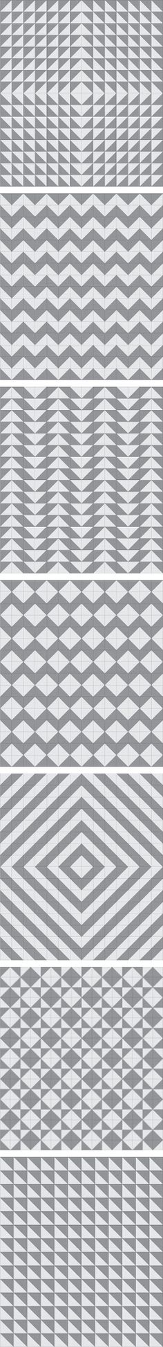 Seven half-square triangle layout patterns.
