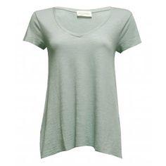 American Vintage Jacksonville V Neck Short Sleeve T-shirt in Agate Green