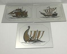 Mirror Tiles Ships Vintage Retro Viking Cog Schooner Gold Black Nautical 12x12   eBay