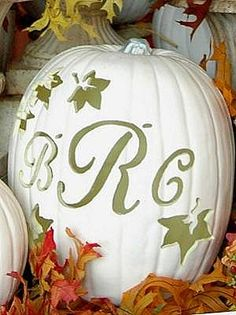 Outdoor Ceremony Decor :  wedding autumn ceremony decor decorations fall outdoor ceremony Monogrammed+White+Pumpkin