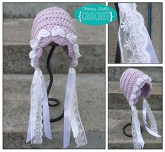 Crochet Bonnet Pattern Free Vintage Inspired Bonnet Pattern Crochet Bonnet Pattern Megan Beanie Hat Bonnet Crochet Pattern The Easy Design. Crochet Baby Bonnet, Crochet Cap, Crochet Baby Clothes, Crochet Beanie, Cute Crochet, Crochet For Kids, Vintage Crochet, Crochet Crafts, Crochet Projects