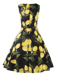 Women's Vintage Dress Black Printed Jewel Neck Sleeveless Pleated Flare Dress-No.2