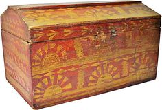 .Nice vintage red and muted yellow painted trunk made of pine.