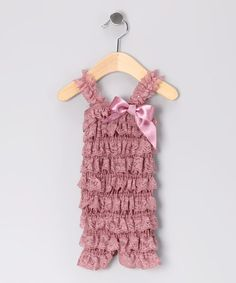 Take a look at this Dusty Rose Lace Ruffle Romper - Infant & Toddler by Under The Hooded Towels on #zulily today!