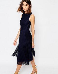 Warehouse Pleated Lace Midi Dress