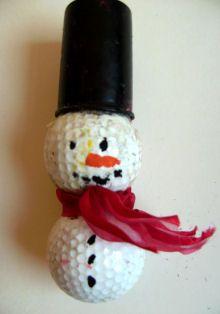Golf Ball Snowman ornament, use a golf tea for the hat.