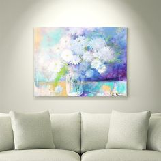 "Pure Innocence 30x40"" abstract floral still life painting on canvas by Kerri Blackman available through Crate and Barrel in partnership with Ugallery.com"